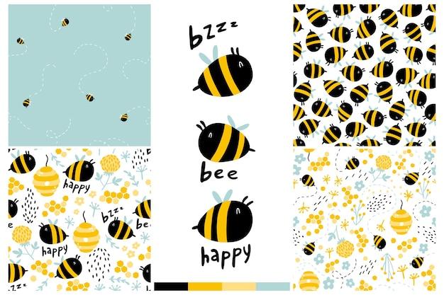 Conjunto de patrones sin fisuras de las abejas. ilustración dibujada a mano infantil de dibujos animados con letras divertidas, palabras.