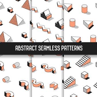Conjunto de patrones sin fisuras abstractos estilo memphis con elementos geométricos. fondos de moda funky hipster de los años 80-90 para papel tapiz, carteles, tela.