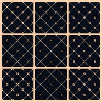 Conjunto de patrones sin fisuras con adornos de arte para el diseño