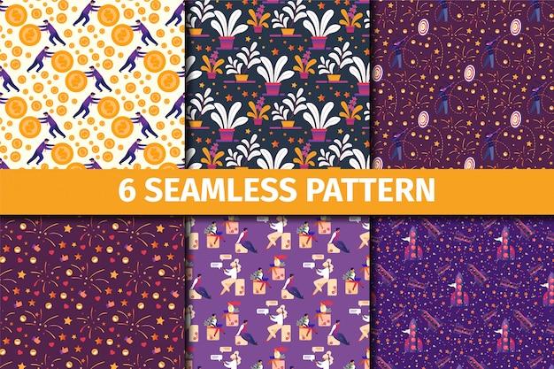 Conjunto de patrones sin fisuras con adornos florales creativos para papel tapiz, tejido estampado, papel de regalo