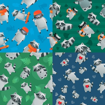 Conjunto de patrones sin fisuras animal mapache, estilo de dibujos animados