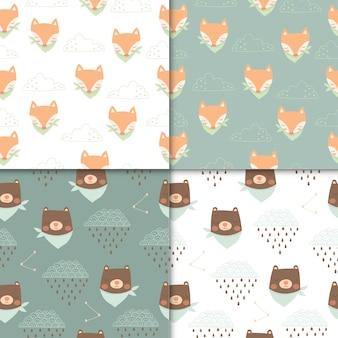 Conjunto de patrones sin fisuras de animales lindos, dibujos animados lindo de oso y zorro para niños.