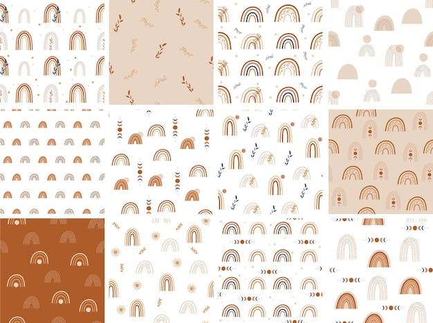 Conjunto de patrones sin fisuras de arco iris. ilustración vectorial.