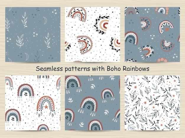Conjunto de patrones sin fisuras con arcoiris en estilo bohemio