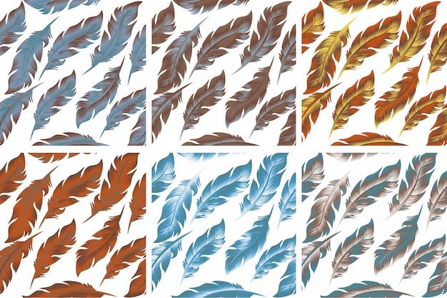 Conjunto de patrones sin fisuras de aves de plumas. retro, estilo doodle. pluma de fondo sin fin, textura, telón de fondo. ilustración.