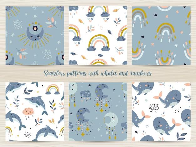 Conjunto de patrones sin fisuras con ballenas y arco iris. ilustración para papel de regalo y scrapbooking