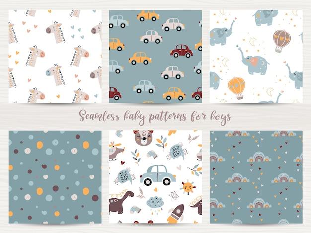 Conjunto de patrones sin fisuras para bebés varones. ilustración para papel de regalo y scrapbooking