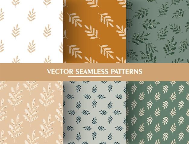 Conjunto de patrones sin fisuras botánico simple con siluetas de ramas de hojas