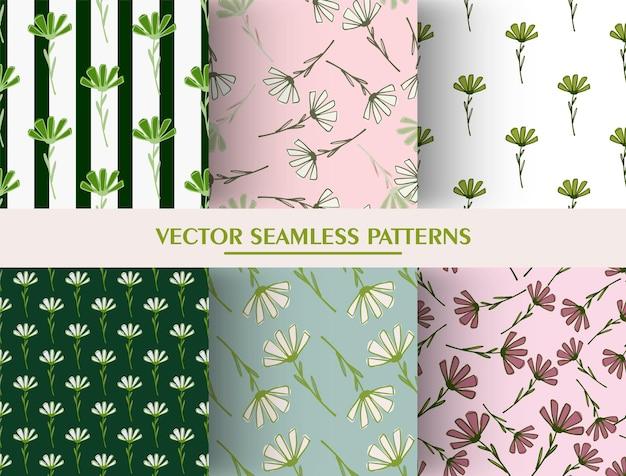 Conjunto de patrones sin fisuras botánicos con elementos florales de doodle.