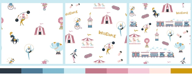 Conjunto de patrones sin fisuras de circo vintage. estilo de dibujos animados simples dibujados a mano. lindos personajes de personas y animales entrenados, trenes y atracciones.