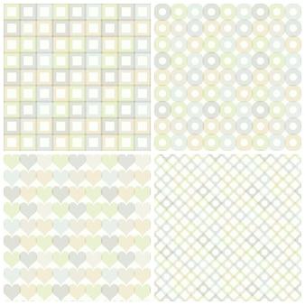 Conjunto de patrones sin fisuras con círculos, cuadrados, corazones y rombos