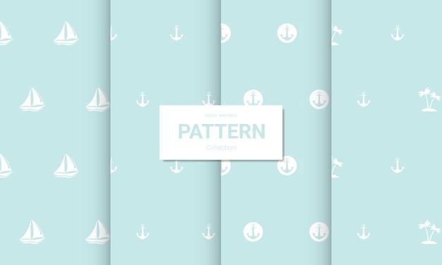 Conjunto de patrones sin fisuras de color azul claro. texturas náuticas sin fisuras del vector.