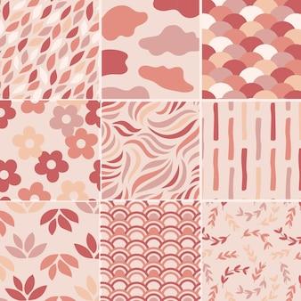 Conjunto de patrones sin fisuras de color rosa pastel