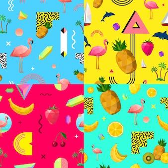 Conjunto de patrones sin fisuras de colores decorativos