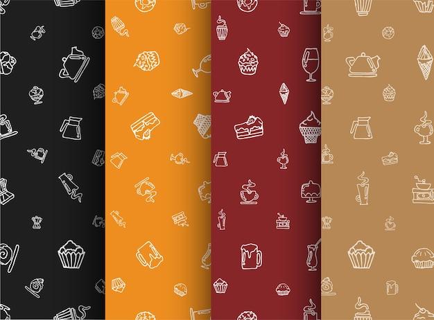 Conjunto de patrones sin fisuras de colores negro, naranja, rojo y marrón con dibujos a mano. vasos, comida, postres y helados.