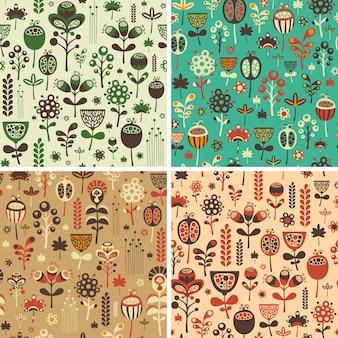 Conjunto de patrones sin fisuras con coloridas flores y follaje.