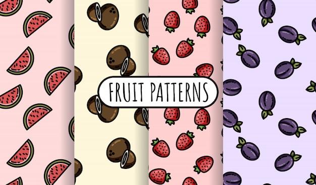 Conjunto de patrones sin fisuras de coloridas frutas.