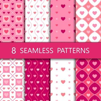 Conjunto de patrones sin fisuras de corazón rosa