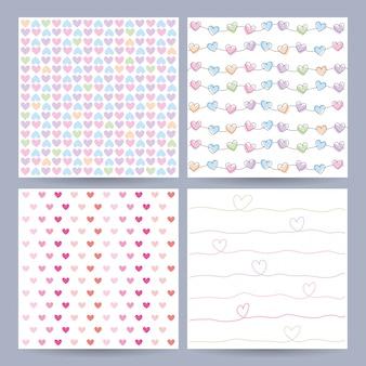 Conjunto de patrones sin fisuras de corazones lindos
