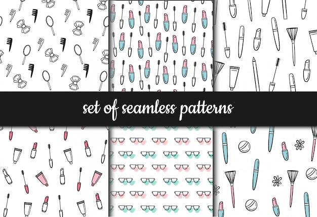 Conjunto de patrones sin fisuras. cosméticos y maquillaje