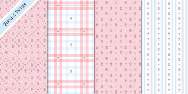 Conjunto de patrones sin fisuras de cuatro flores de primavera
