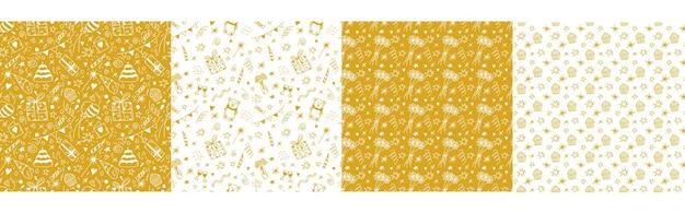 Conjunto de patrones sin fisuras de cumpleaños con regalos pastel fiesta banderas globos vela confeti en oro