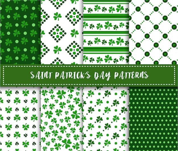 Conjunto de patrones sin fisuras del día de san patricio - hojas de trébol o trébol, ornamento abstracto
