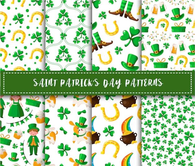Conjunto de patrones sin fisuras del día de san patricio kawaii cartoon niño y niña, trébol, perro con sombrero, banderas, guirnaldas, pastel dulce