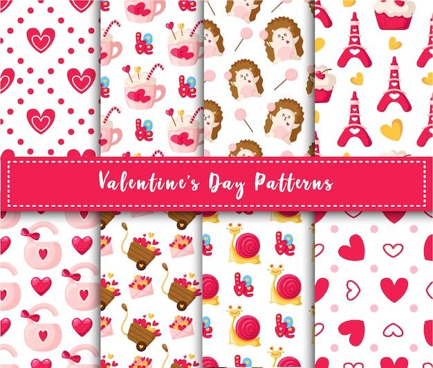Conjunto de patrones sin fisuras del día de san valentín dibujos animados kawaii erizo, lindo caracol, dulce pastel, cerradura, letras, torre eiffel