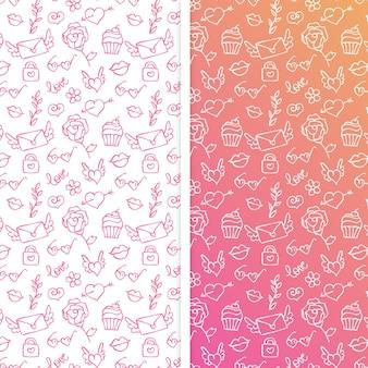 Conjunto de patrones sin fisuras para el día de san valentín con elementos de doodle