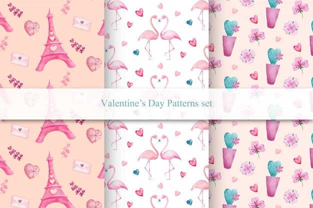Conjunto de patrones sin fisuras del día de san valentín con flamencos, corazones y torre eiffel
