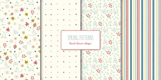 Conjunto de patrones sin fisuras dibujados a mano cuatro primavera