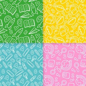Conjunto de patrones sin fisuras dibujados a mano de la escuela