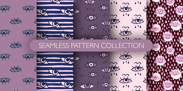 Conjunto de patrones sin fisuras dibujados a mano con ojos y gotas.