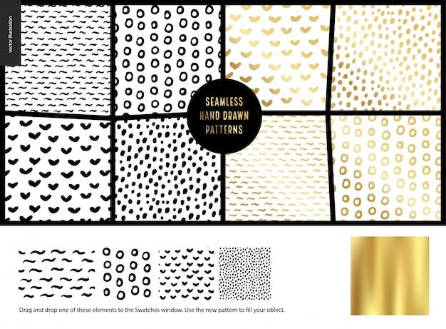 Conjunto de patrones sin fisuras dibujados a mano