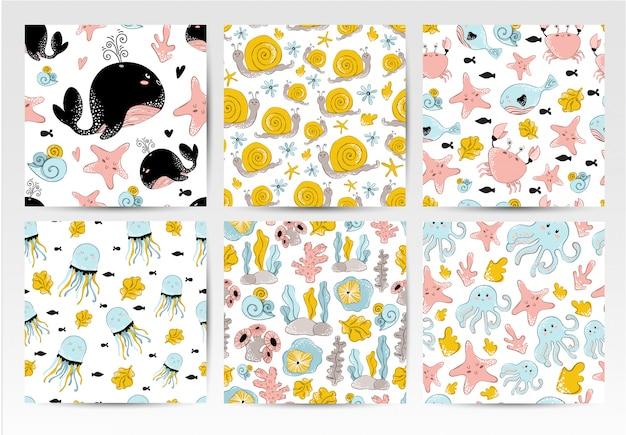 Conjunto de patrones sin fisuras, dibujos animados de animales marinos.