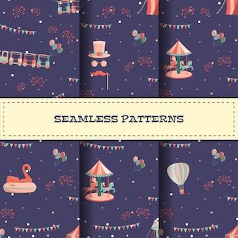 Conjunto de patrones sin fisuras de dibujos animados parque de atracciones