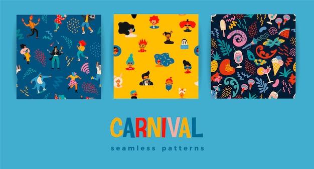 Conjunto de patrones sin fisuras con divertidos hombres y mujeres bailando en brillantes trajes modernos