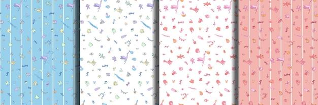 Conjunto de patrones sin fisuras de doodle de bebé y letras
