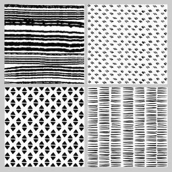 Conjunto de patrones sin fisuras en doodle blanco y negro