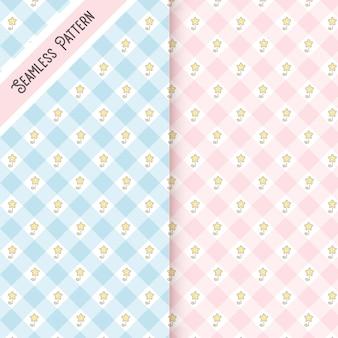 Conjunto de patrones sin fisuras de dos flores de primavera