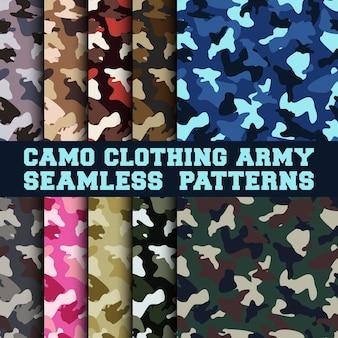 Conjunto de patrones sin fisuras del ejército de ropa de camuflaje