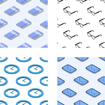 Conjunto de patrones sin fisuras con elementos relacionados con la oficina isométrica. eps