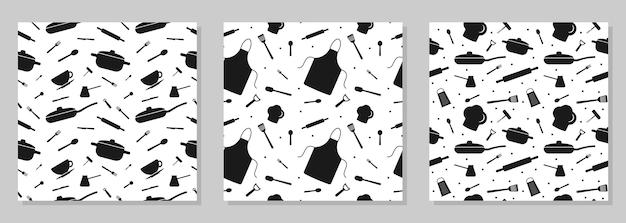 Conjunto de patrones sin fisuras con elementos de utensilios de cocina para el diseño de papel de embalaje