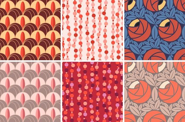 Conjunto de patrones sin fisuras en estilo art deco.