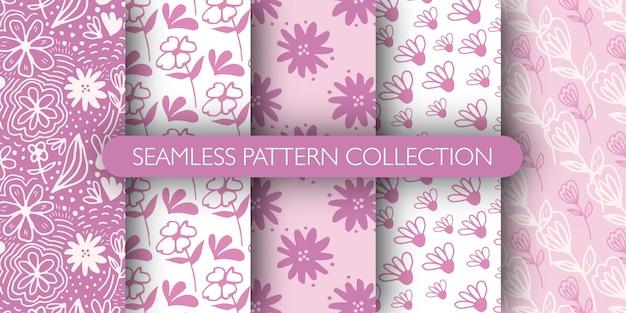 Conjunto de patrones sin fisuras de la flor de contorno rosa doodle. ditsy fondo floral. divertido fondo de pantalla sin fin floral.