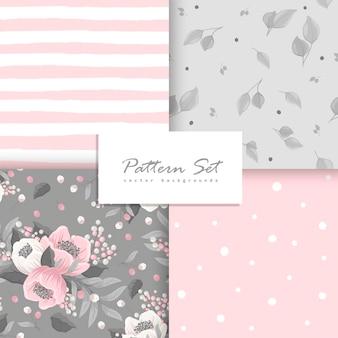 Conjunto de patrones sin fisuras florales de fondo