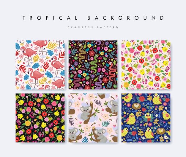 Conjunto de patrones sin fisuras con flores, animales y aves tropicales