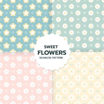 Conjunto de patrones sin fisuras de flores dulces en arte de estilo lindo