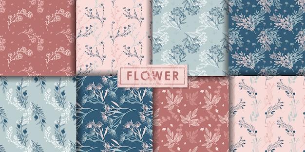 Conjunto de patrones sin fisuras de flores románticas, fondo abstracto, papel pintado decorativo.